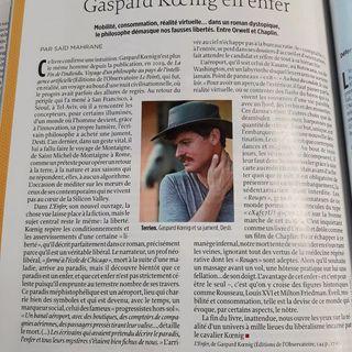 - A lire aujourdhui dans @lepointfr, le papier de Said Mahrane a propos du roman de Gaspard...